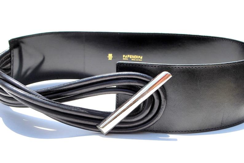 e51f4436 Vintage Belt FENDI Wide Black Leather Belt By Fendi