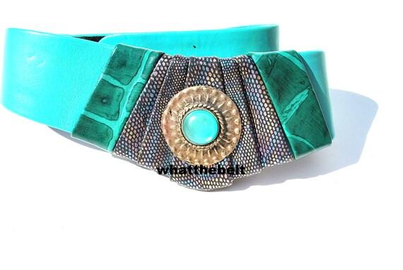 Vintage Belt Wide Green Leather Leather Belt 80s … - image 1