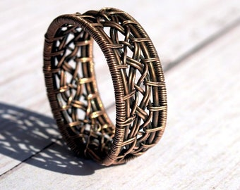 Solid Copper Braided Stacking Ring Size 10.0 Ready to Ship Handmade Unisex Twisted Wire Ring
