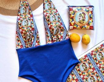 Ortigia one piece swimwear - one-piece swimsuit, painted Sicilian pupae
