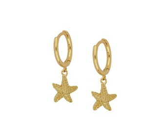 Starfish hoops earrings, sterling silver 925, gold plated