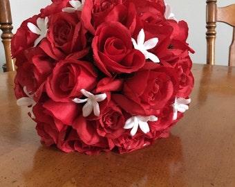 Red rose bouquet with stephanotis & 2 bridesmaids