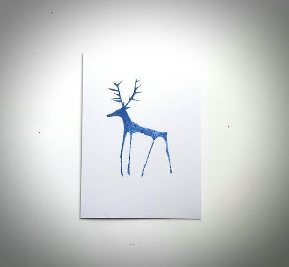 Reindeer Christmas Cards Hand Prints.Hand Printed Stag Cards Blue Reindeer Stag Deer Print Card Handmade Christmas Card Winter Scene Stag Print Blue Art Card Ready To Ship