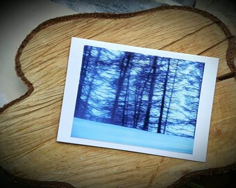 Blue Forest Art Photographic Cards - Winter Twilight Snow Woodland Photograph Greeting Christmas Card - Made to order