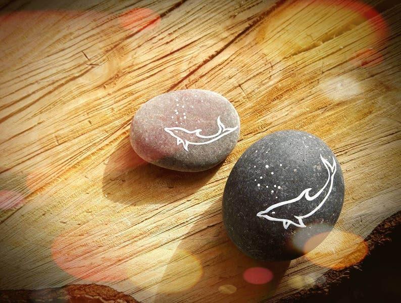9d2231b2e Delfín pintado piedras Set de 2 mano pintado delfines