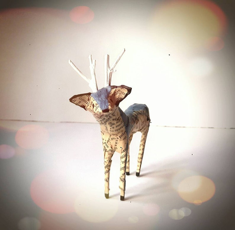 Recycled Book Pages Paper Mache Animals Art MADE TO ORDER Little Reindeer Paper Model Miniature Stag Deer Sculpture Ornament Decoration