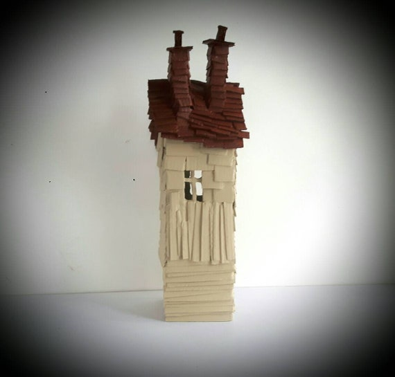 Tall Treehouse Handmade Recycled Cardboard House Model Sculpture Decoration Gift Painted Miniature House Ready To Ship