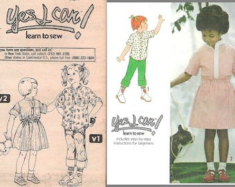 Simplicity Pattern 9012  CHILD'S SHIRT, SKIRT  Learn to Sew Pattern Booklet included top-stitched  shirt front closing Child Size 6