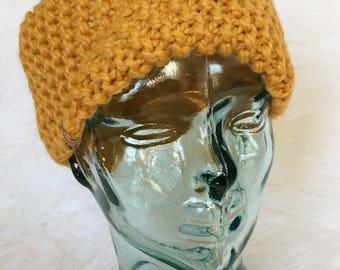 Mustard Headband, Knit Headband, Chunky Knit Headband, Knit Ear Warmer, Mustard Ear Warmer, Ready to Ship