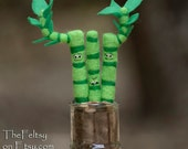 Made to order The not so lucky Bamboo needle felted plant doll one of a kind hand made plant miniature funny