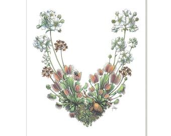 "Venus Flytrap - Farmer Turned Hunter, botanical illustration greeting card 5"" x 7"" SET OF SIX"