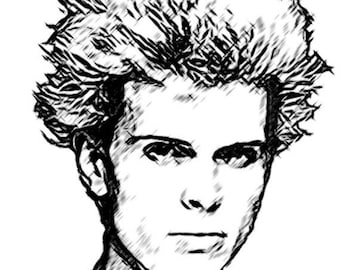 40% OFF SALE Billy Idol Drawing T shirt