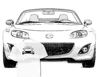 40% OFF SALE Mazda Miata Drawing T shirt Your car Drawing  is available