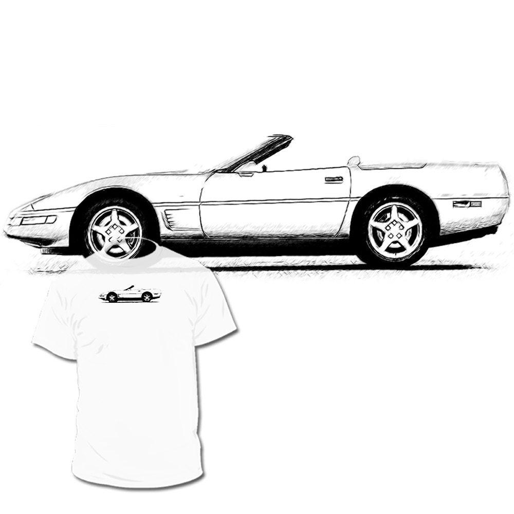 c4 chevrolet corvette convertible drawing tshirt c2 c3 c4 c5