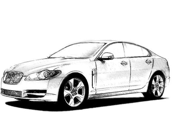 Jaguar Xf Drawing T Shirt Etsy