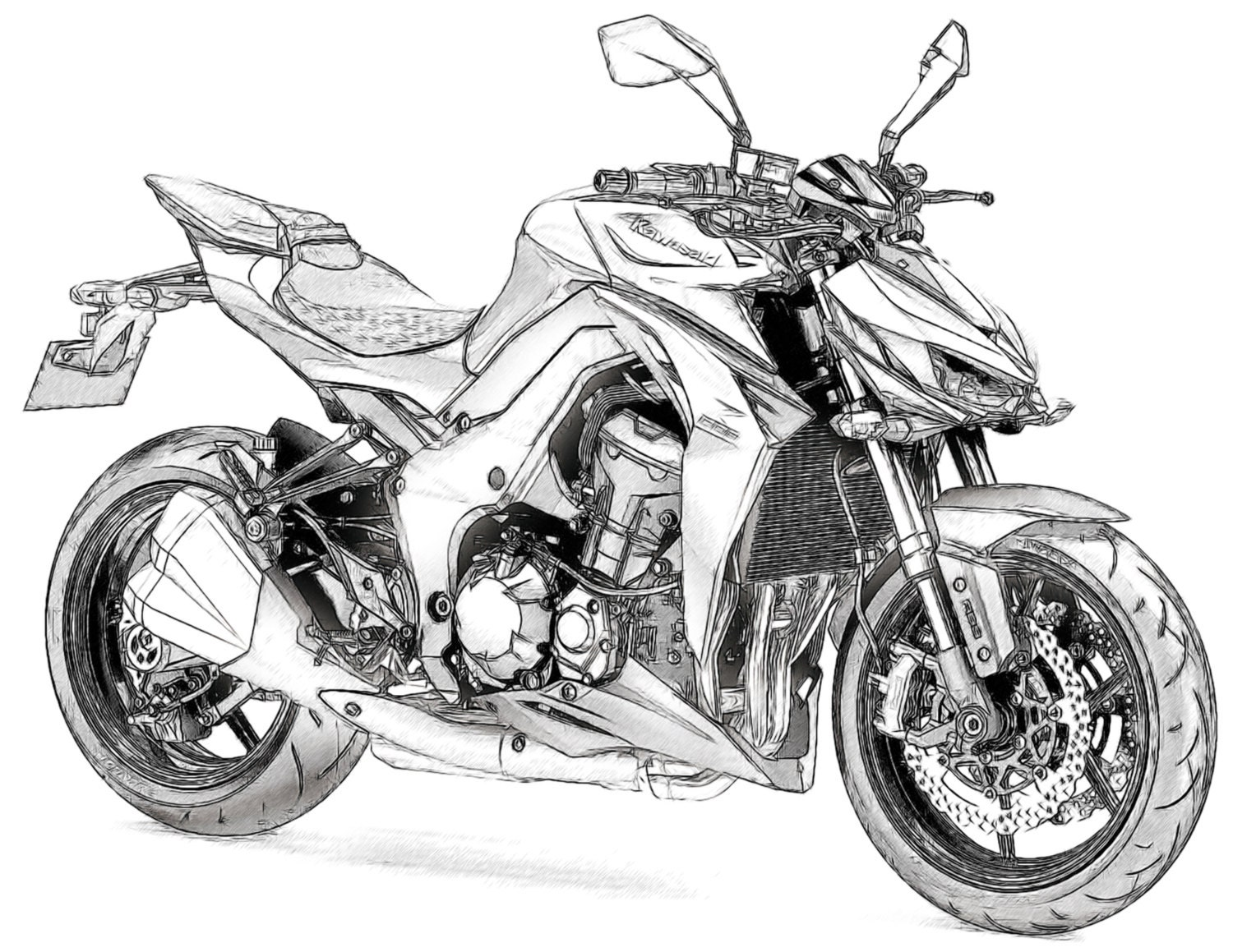 Kawasaki Z1000 Drawing T Shirt I Can Draw Your Bike For You Etsy