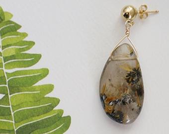 Rutilated Quartz Drop Earrings | Gold Fill Ball Posts | Delicate Quartz Drops