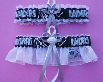555d8e502d7d Oakland Raiders Fabric Logo Wedding Garter Set Football Charm Sport