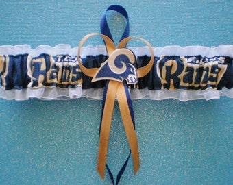 a7b108f8bc06 Los Angeles Rams Logo Fabric Wedding Garter Toss Football Charm Sport