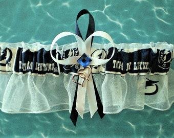 Tampa Bay Rays Wedding Garter Set with charms  Handmade  Keepsake and Toss   Satin w-cnc