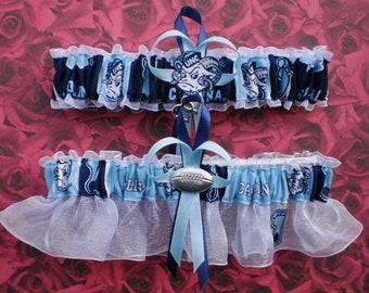 c5b49e2f85af North Carolina University Tar Heels Fabric Wedding Garter Set Double Heart  Charm Sport