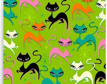 Prancing Kittens on Lime • Art Print
