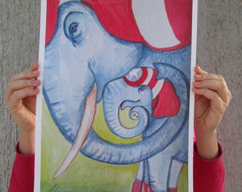 A3 & A4 printsCaptain Elephant - Parent and child