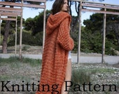 KNITTING PATTERN, over-sized chunky full length cardigan pattern, long overcoat pattern, loose weave long cardigan with hood, PDF pattern