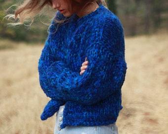 15a516b036 Blue hand knit cardigan, royal blue cardigan, chunky knit jacket, cropped  cardigan, women's handknit sweater, loose knit bulky jacket