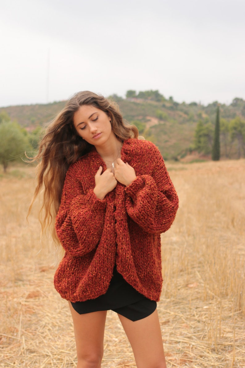1ebd44c411 Chunky cardigan in sienna red tweed oversized sweater loose