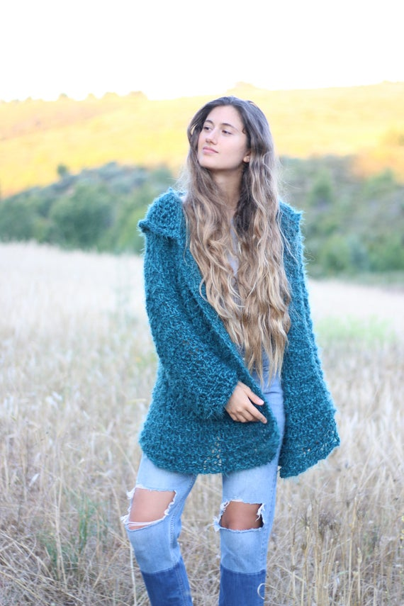 01b35df6f15 Knitted cardigan petrol-teal mid-thigh sweater oversized