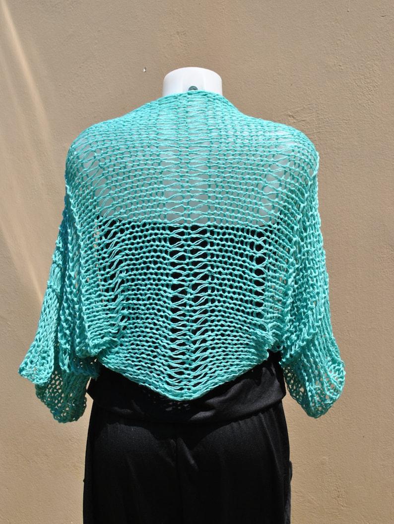 beach top handknit cotton shrug aqua cropped sweater loose weave shrug aqua bridal wrap summer cotton Aqua summer shrug aqua bolero