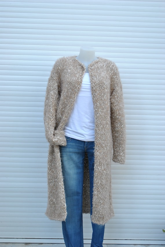 6783619d73b882 Long knit Oatmeal beige cardigan hand knit alpaca wool blend | Etsy