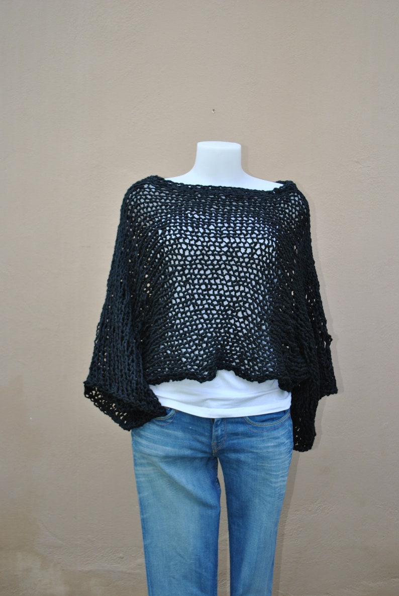 f56f80958e08c8 Crop sweater black chunky cropped sweater cotton sweater
