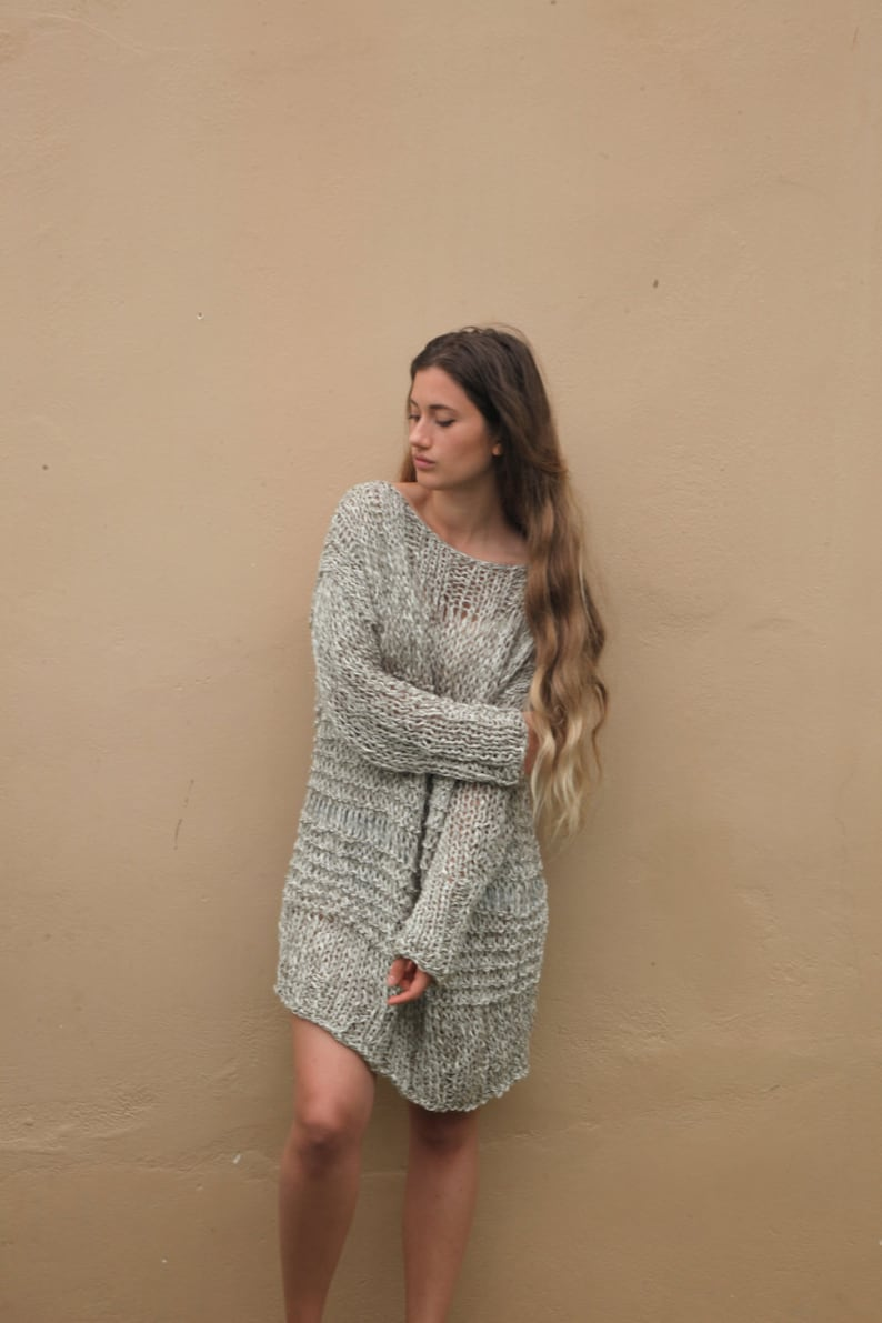 0d46bf1c5cc5 Over sized chunky knit sweater dress khaki loose weave