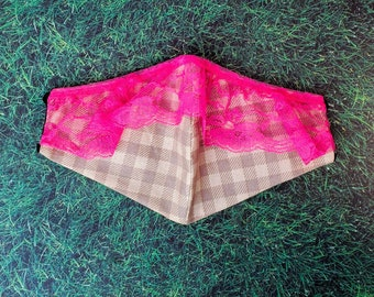 Cottagecore Lace Ruffle Face Mask with filter pocket and adjustable straps / Handmade Gingham Fairycore Face Covering