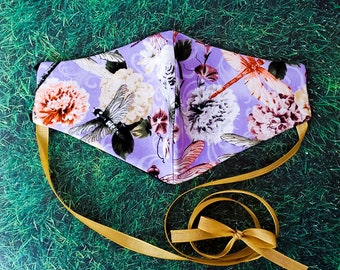 Cottagecore Pastel Floral Face Mask with choker and filter pocket / Handmade Lolita Style Face Covering with adjustable straps