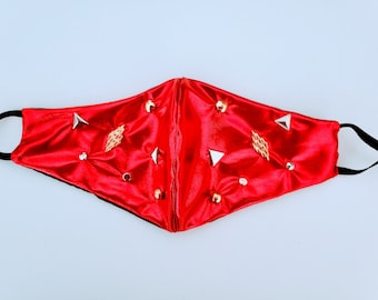 Wonder Woman Cosplay face mask, Gold Studded face covering