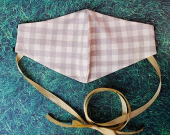 Cottagecore Gingham Face Mask with choker and filter pocket / Handmade Lolita Style Face Covering with adjustable straps