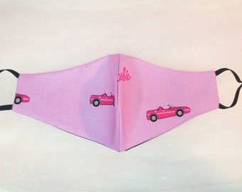 Barbie Girl Face Mask with filter pocket, Pink 90s girl face covering