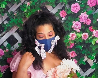 Cottagecore Floral Ribbon Face Mask with choker and filter pocket / Handmade Denim Lolita Style Face Covering with adjustable straps