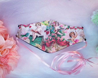 Cottagecore face mask with choker and filter pocket, Lolita Baroque style face covering accessory