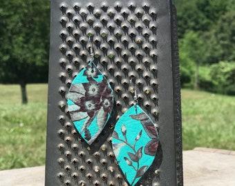 Teal Floral Dangle Genuine Leather Petal Earrings