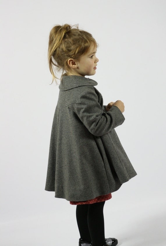 original detailed images classic fit Girls Grey Wool Dress Coat// Vintage Inspired Luxury Swing Coat// Toddler//  Kids// Custom Fabrics Available// 1t, 2t, 3t, 4t, 5t, 6, 7, 8