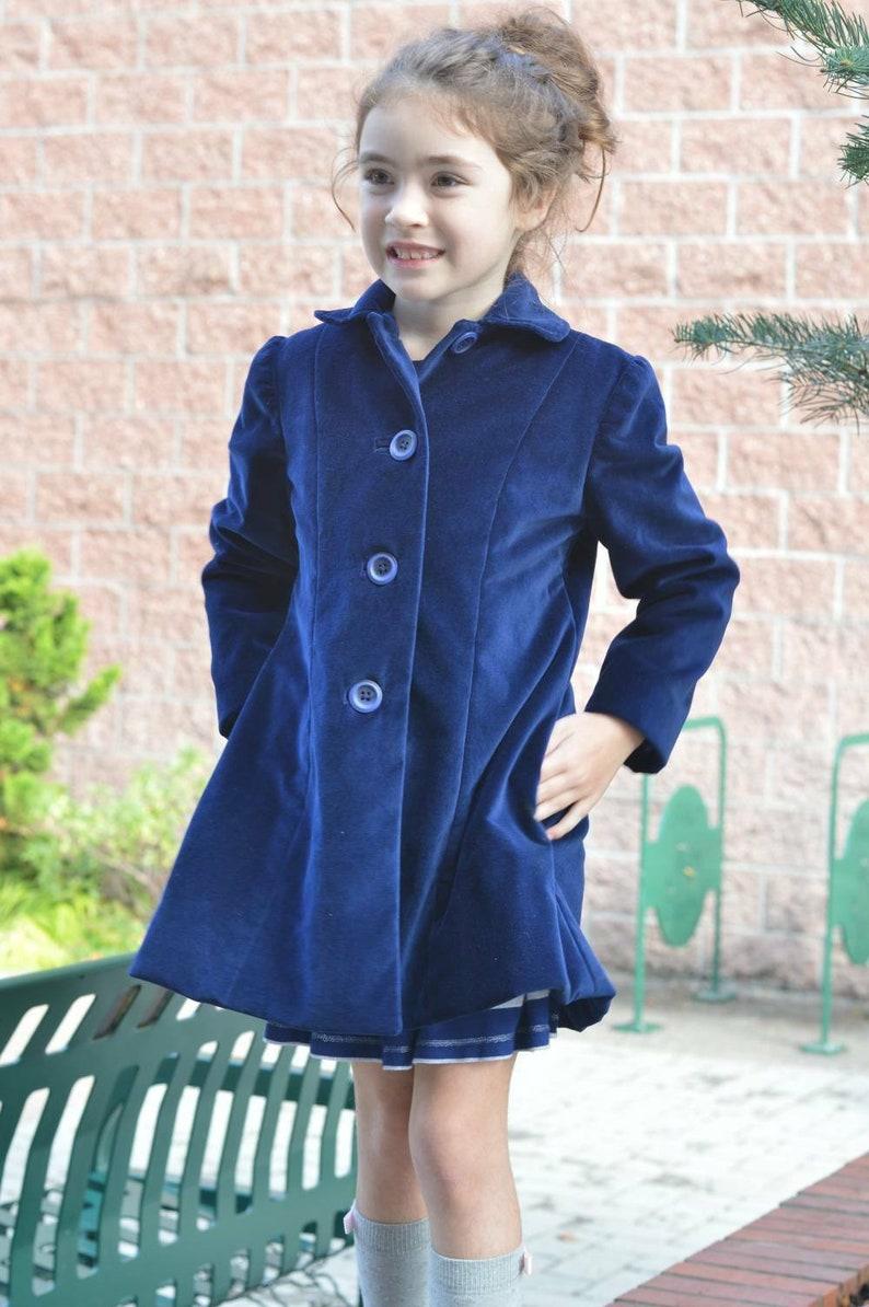 Girls Vintage Style Peter Pan Collar Long Sleeve Button Dress 3T 4T 5 6 7 8 9 10