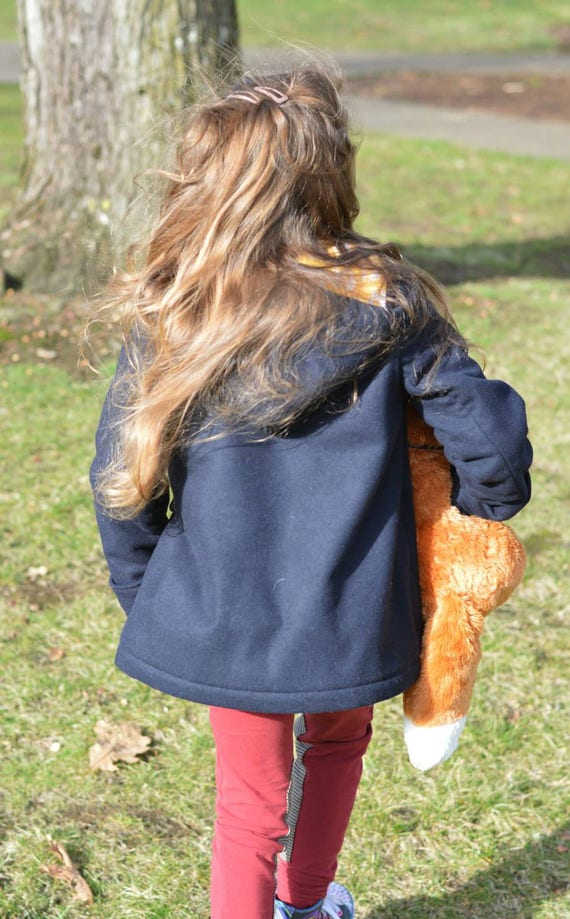 Girls Or Boys Wool Quilted Duffle Coat With Hood In Navy Blue Toggle Zipper Coat With Hood Sizes 1t 2t 3 4t 5 6t 6x 7 8 10 12 14
