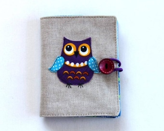 birthday gift, sewing gift, needle craft, handmade needle case, needle book, embroidery needle book, sewing notions book, owl applique