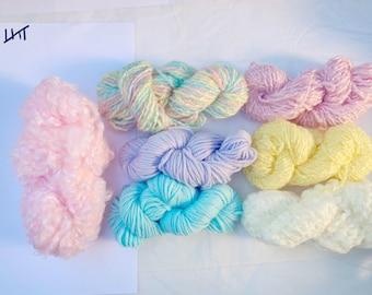 Baby Pastel Rainbow Fiber Packs / Destash Fiber Pack/ Scrap Pack/ Yarn Pack/ Scrap Yarn