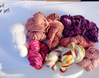 Big Red, Pink, Purple Fiber Packs / Destash Fiber Pack/ Scrap Pack/ Yarn Pack/ Scrap Yarn