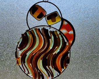 Taurica.  Unique Stained Glass Suncatcher with fused glass and jewels